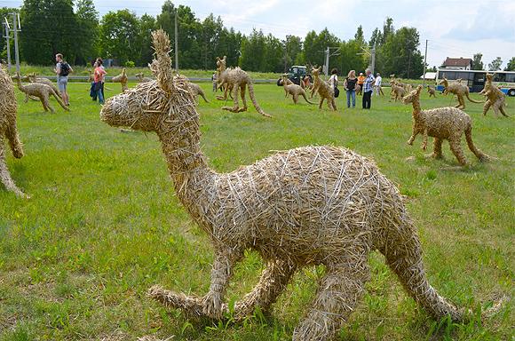 Rund 120 Kängurus aus Stroh stehen am Bahndamm in Schönwalde (Unterspreewald). Der Kroate Nikola Faller hat dieses Gesamtkunstwerk geschaffen.